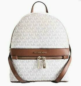 New Michael Kors KENLY Medium Backpack PVC with Leather Vanilla