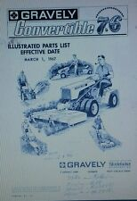 Gravely 7.6 Swiftamatic 2-Wheel Walk-Behind Garden Tractor Parts Manual 18p 1967