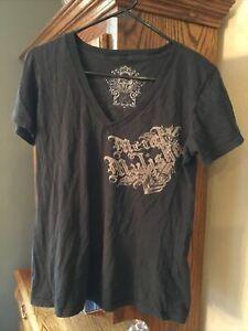 New METAL MULISHA Juniors Red Basic Graphic Printed Finess S//S Crew Tee Shirt