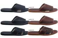 Men's Leather Slippers Shoes, Sandals, Slip On, Black Brown Size 7 8 9 10 11