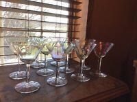 9 Vintage Crystal Multi Luster Optic Paneled 4 Oz Wine Glasses