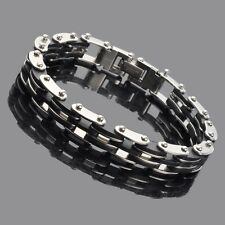 Schwarz Herren Gummi Armband Silber Edelstahl Armband Kette mit Carbon Fiber NEU