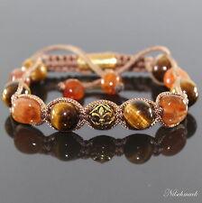 Damen Golden Amber Edelstein Shamballa Antikgold Spacer Armband für Frauen