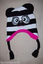 Girls Knit Critter Hat PANDA BEAR Glitter Eyes BLACK WHITE Pink Inside