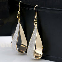 Mode Damen Silber /Gold Kristall Schrubben Wassertropfen Haken Ohrringe Neu