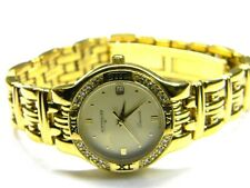 ladies Longines Wittnauer Laureate date 16 real diamond gold plated dress watch