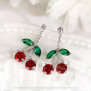 4.50Ct Round Cut Red Ruby Cherry Drop & Dangle Earrings 14K White Gold Over