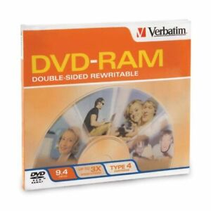 4-Pak 9.4GB Verbatim 3X DVD-RAM in Type-4 Cartridges (double-sided) w/ Hard Coat