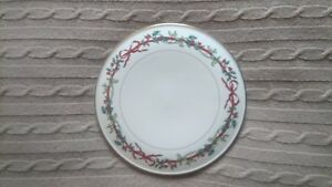 Vintage Royal Worcester Holly Ribbons Christmas China Cake Stand Cheese Platter