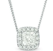 Zales Fashion Diamond Frame Pendant. 1/3 CT. T.W. Princess-Cut in 14K White Gold
