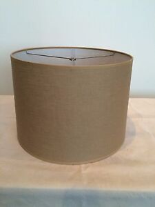 """Contemporary Style Fabric Drum Lamp shade 16"""" wide Tan color"""