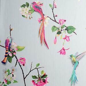 Birds Of Paradise Wallpaper Arthouse Grey Pink Floral Textured Vinyl Green