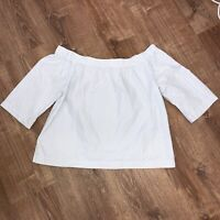 Madewell Woman's White & Blue Stripes Off The Shoulder Top Blouse Size Large