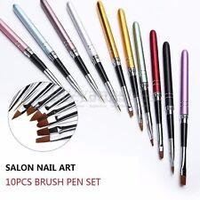 10Pcs/Set Nail Art Brush Crystal UV Gel Painting Drawing Liner Pen Kits Tools