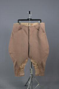 Men's 1920s 1930s Heavy Wool Breeches 40W 20s 30s Vtg Jodhpurs Pants