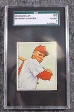 Vintage Baseball Card 1950 Bowman Richie Ashburn SGC 88 NM/MT 8 MLB