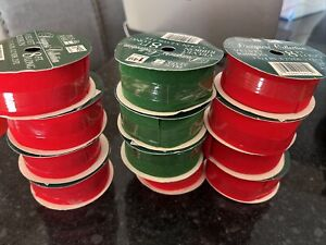 Vintage Christmas Ribbon Lot Red Velvet Red And Green 13 Rolls!
