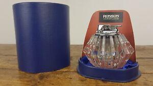 RONSON VARAFLAME LIGHTER GLASS BASE VINTAGE 1960's IN ORIGINAL BOX FLINTS