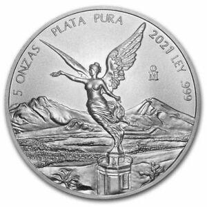 2021 Mexico 5 oz Fine Silver 999 BU BRILLIANT UNCIRCULATED Libertad