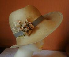 Chapeau vintage en paille naturelle , ruban en gros grain et fleurs