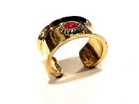 Bijou bracelet manchette laiton et  cabochon de pierre rouge bangle