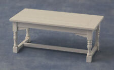 White Refectory Table, Doll House Miniature, Kitchen Furniture. Wooden Table.