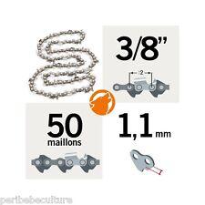 """Chaîne tronçonneuse KERWOOD 50 maillons 3/8"""",1,1mm, modèle semi carrée"""