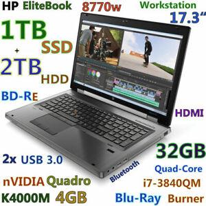 """Workstation HP 8770W 17.3"""" i7-QUAD BD-RE (1TB SSD + 2TB HDD) 32GB K3100M 4GB BKL"""