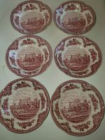 Johnson Brothers Old Britain Castles Pink 6 Fruit Bowls Made In England