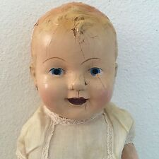 "Antique Big CREEPY Baby Doll 23"" Composition Head Arms Legs Sawdust Body Haunted"