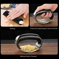 3Pcs Stainless Steel Garlic Press Handheld Mincer Crusher Peeler Cooking Gadgets
