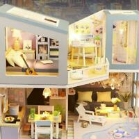 DIY Miniature Dollhouse Kit Realistic Mini 3D LED Light Craft Gift Toy Room H7A5