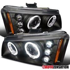 Chevy 02-06 Avalanche 03-07 Silverado Black LED Halo Projector Headlights