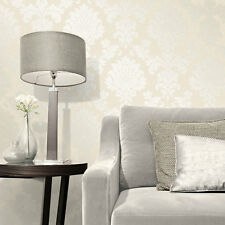 Fine Decor Quartz Cream Gold Glitter Damask Textured Feature Wallpaper FD41970
