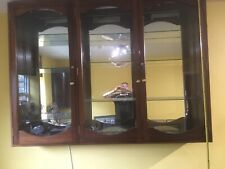 Very Large Solid Mahogany Mirror Back Trophy Cabinet Glass Shelves And Lights