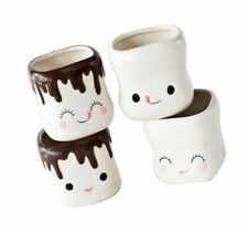 180D PJ0619 Cute Marshmallow Shaped Ceramic Hot Chocolate Mugs Pack of 4