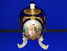 More details for kpm berlin porcelain  hand painted three footed lidded egg shape pot circa 1900
