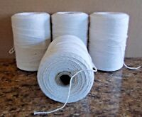 4 Natural Spools 8/4 Poly/Cotton Loom Weaving Rag Rug Carpet Warp Yarn String