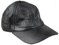 Hommes originales 100% cuir noir pré Visière courbe Casquette Baseball