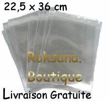 LOT 25 POCHETTES SACHETS PLASTIQUE SACS A RABAT ADHÉSIF 22,5 cm x 36 cm