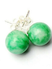 Fashion New 10mm Natural Green Jade Round Gems 925 Sterling Silver Stud Earrings