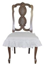 Linen Dining Room Chair Seat Cover Slipcover 4 sided Ruffle White  Large