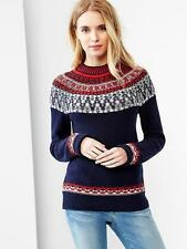 NWT Gap Reverse Fair Isle Mockneck Sweater, TRUE NAVY SIZE ST S T   #142388   v