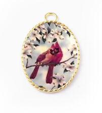Red Cardinal Bird porcelain cameo Pendant Handmade Gold Plated Jewelry New