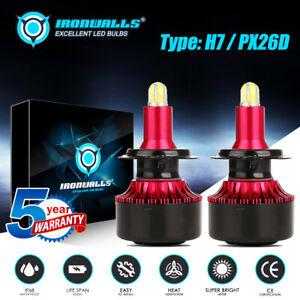 IRONWALLS H7 COB LED Headlight Kit Hi/Lo 2000W 6500K 300000LM Replacement Bulbs