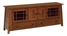 """Amish Arts & Crafts TV Stand Cabinet Solid Wood 72"""" McCoy"""