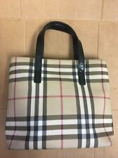 $595 Burberry London Coated Canvas And Leather Nova Check #T-03-2 Small Tote Bag
