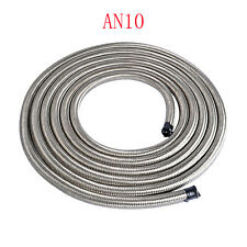 Silver AN10 Stainless Steel Braided Fuel Oil Gas Line Hose -10AN by Foot