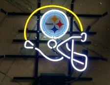"Rare New Pittsburgh Steelers Helmet Bar Beer Light Neon Sign 24""x20"""