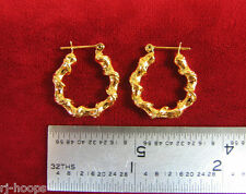 "MADE IN USA - Gold Plated ~3/4"" Twist wire design hoop earrings"